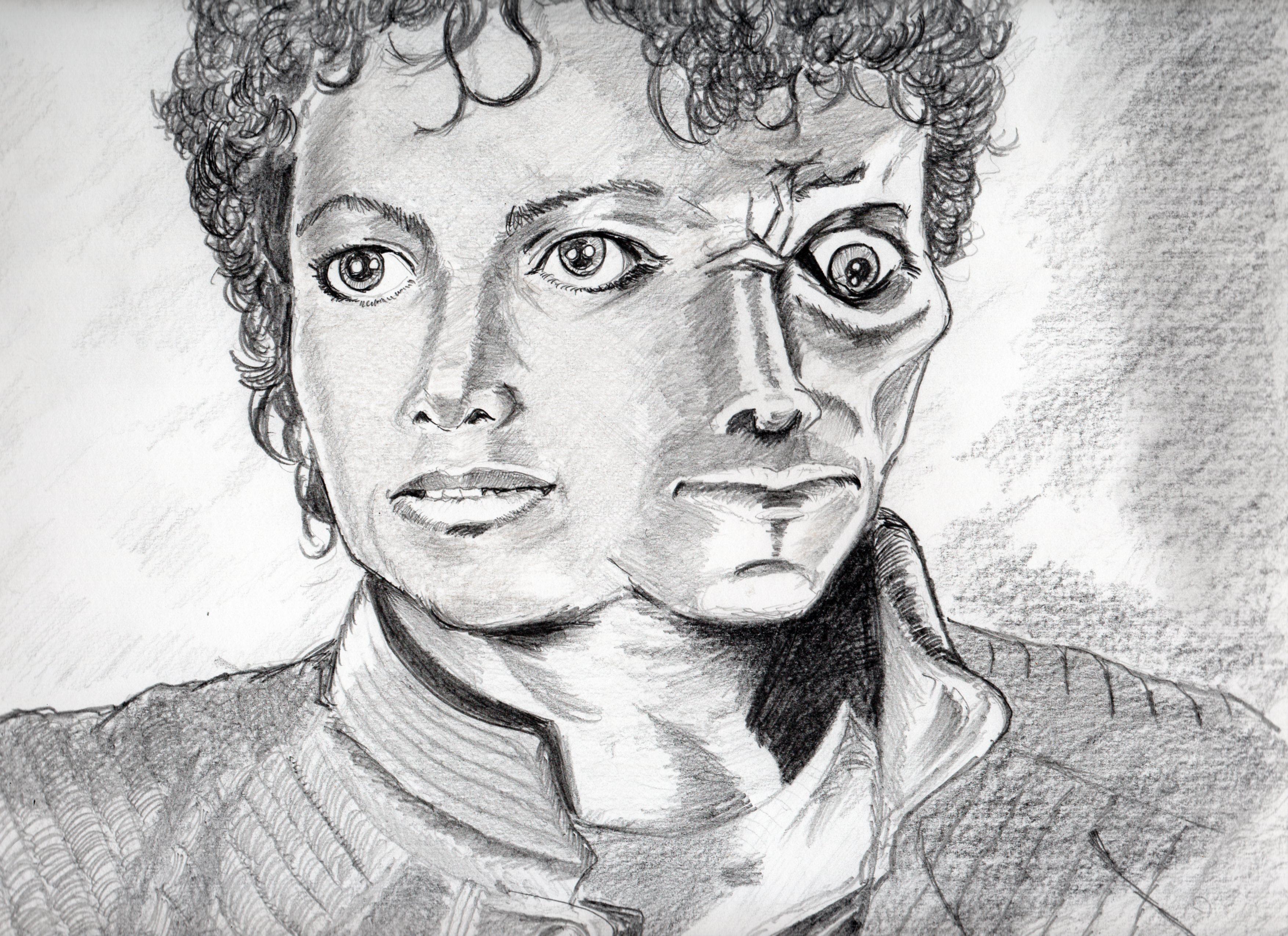 マイケル・ジャクソン THRILLERの鉛筆画似顔絵