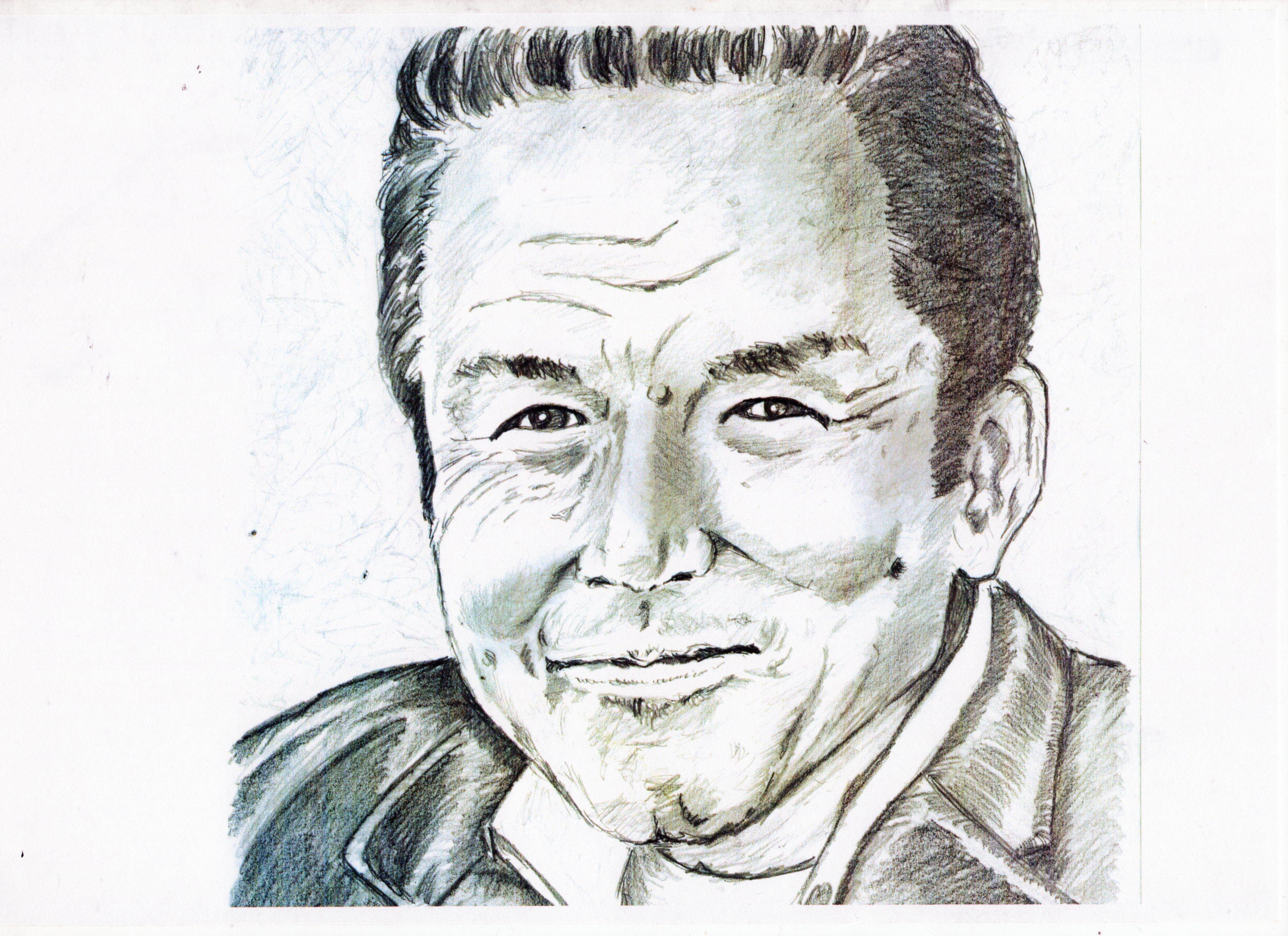 小林稔侍の鉛筆画似顔絵