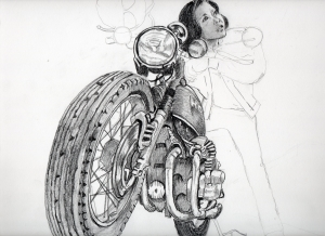 和田アキ子の鉛筆画似顔絵途中