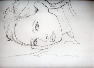 北川景子の鉛筆画似顔絵途中