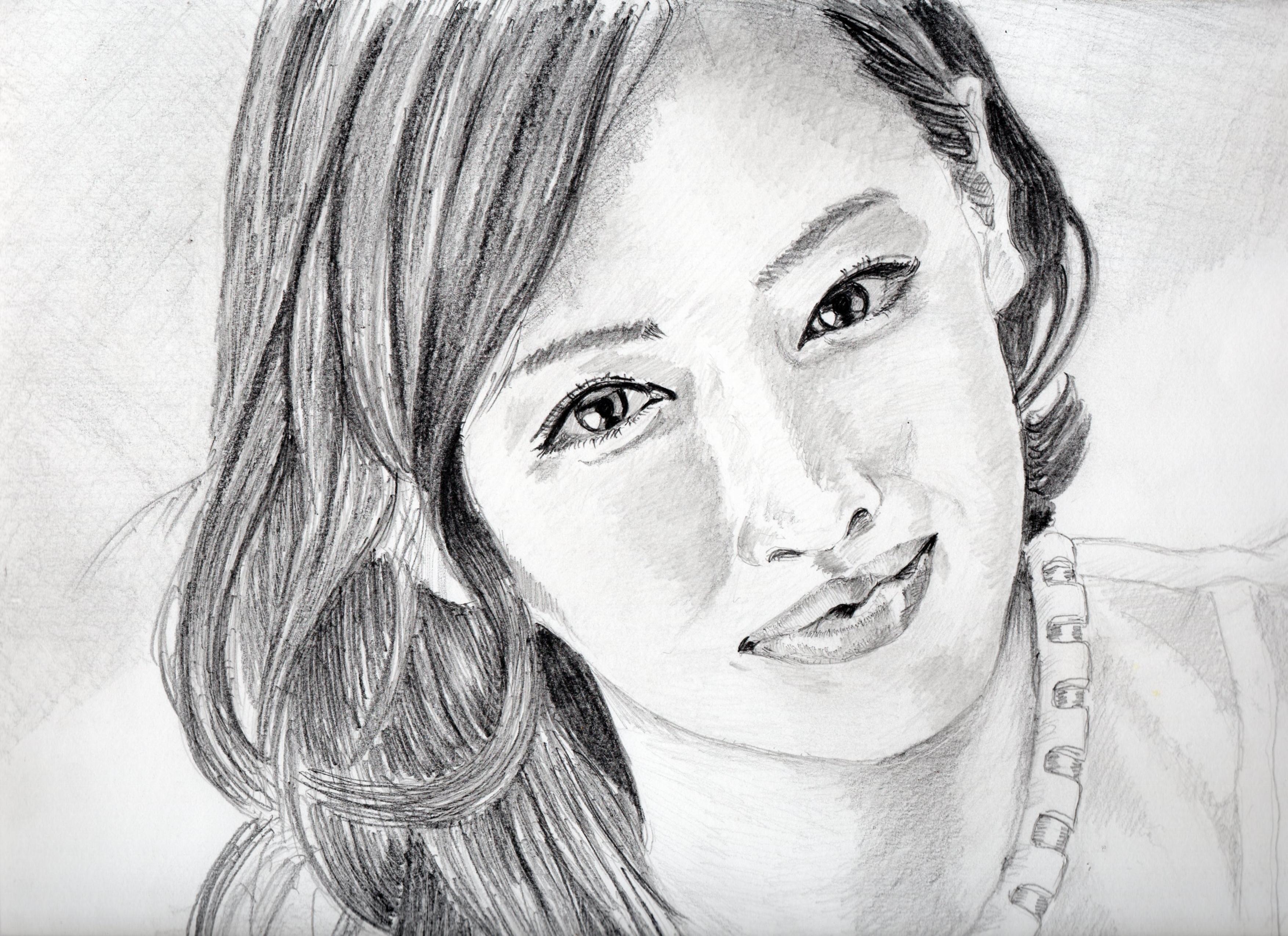 北川景子の鉛筆画似顔絵 北川景子のリアル鉛筆画似顔絵