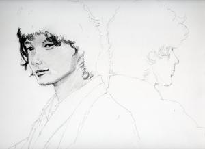 神木隆之介の鉛筆画似顔絵途中