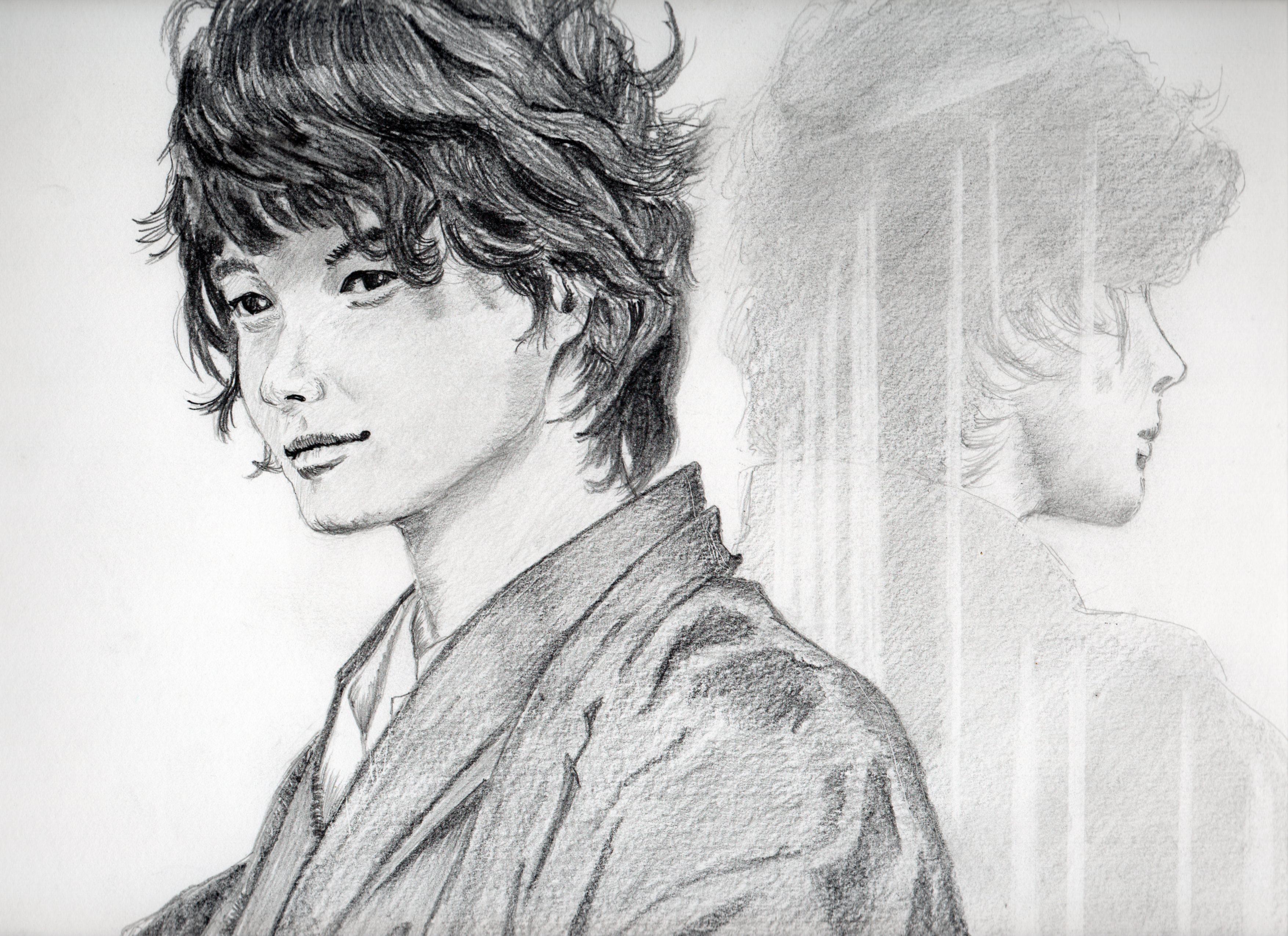 神木隆之介さんの鉛筆画似顔絵、神木隆之介さんのリアル鉛筆画