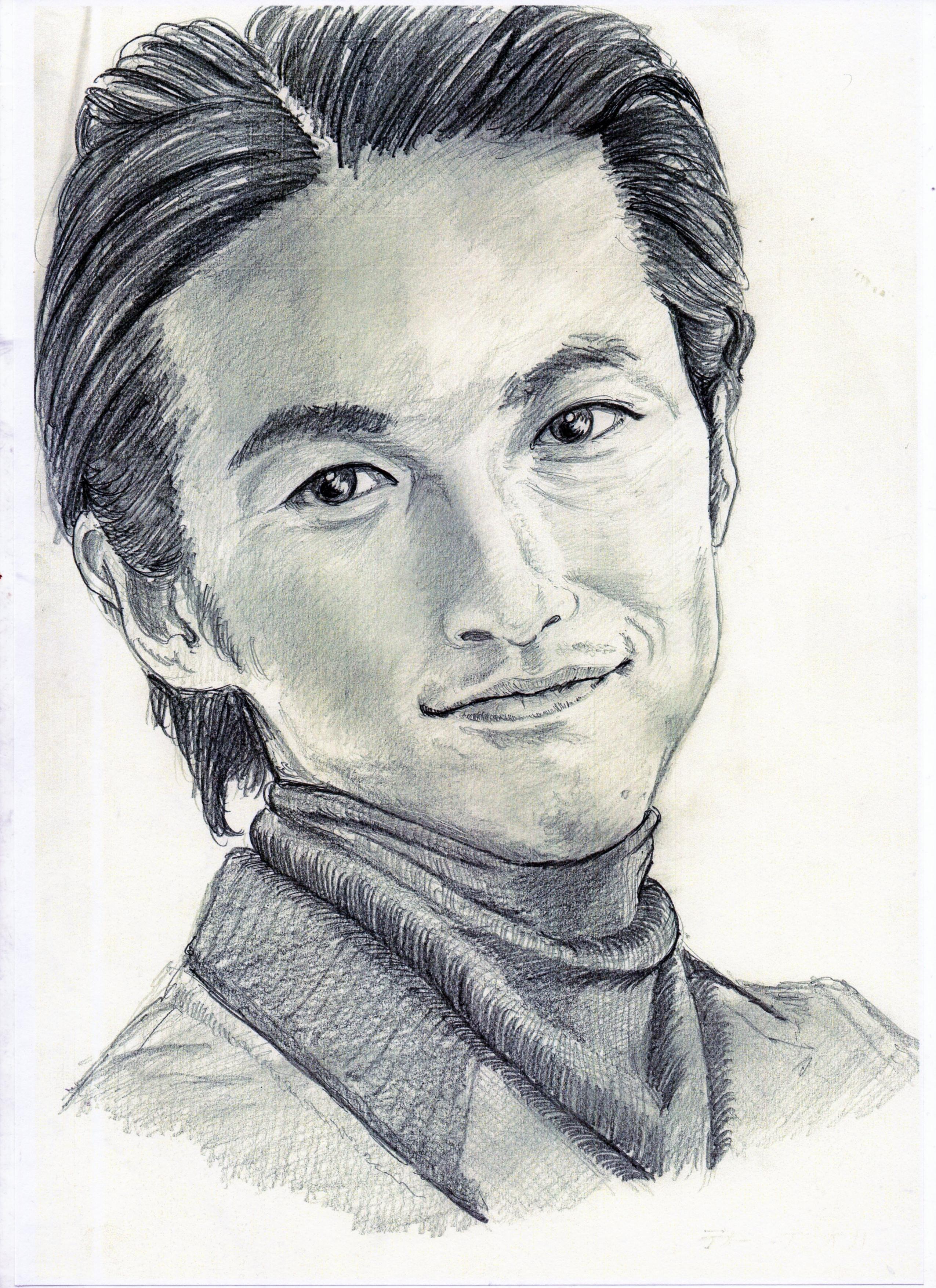 ディーン・フジオカの鉛筆画似顔絵、ディーン・フジオカのリアル鉛筆画似顔絵