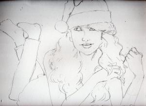 テイラー・スウィフトの鉛筆画似顔絵途中