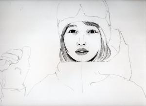 桜井日奈子の鉛筆画似顔絵途中
