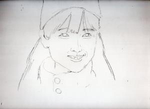 原田知世の鉛筆画似顔絵途中