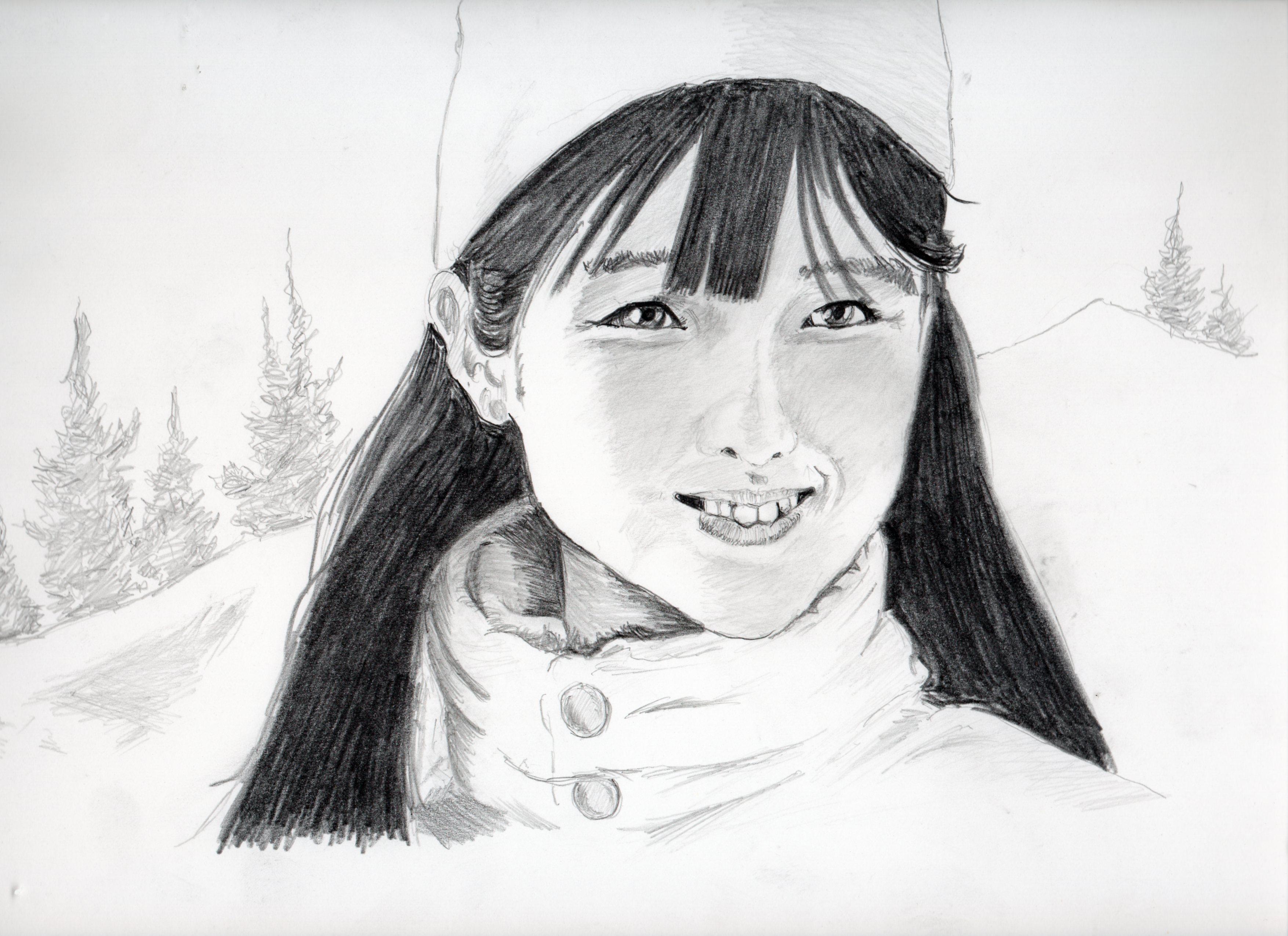 原田知世の鉛筆画似顔絵、原田知世のリアル鉛筆画似顔絵