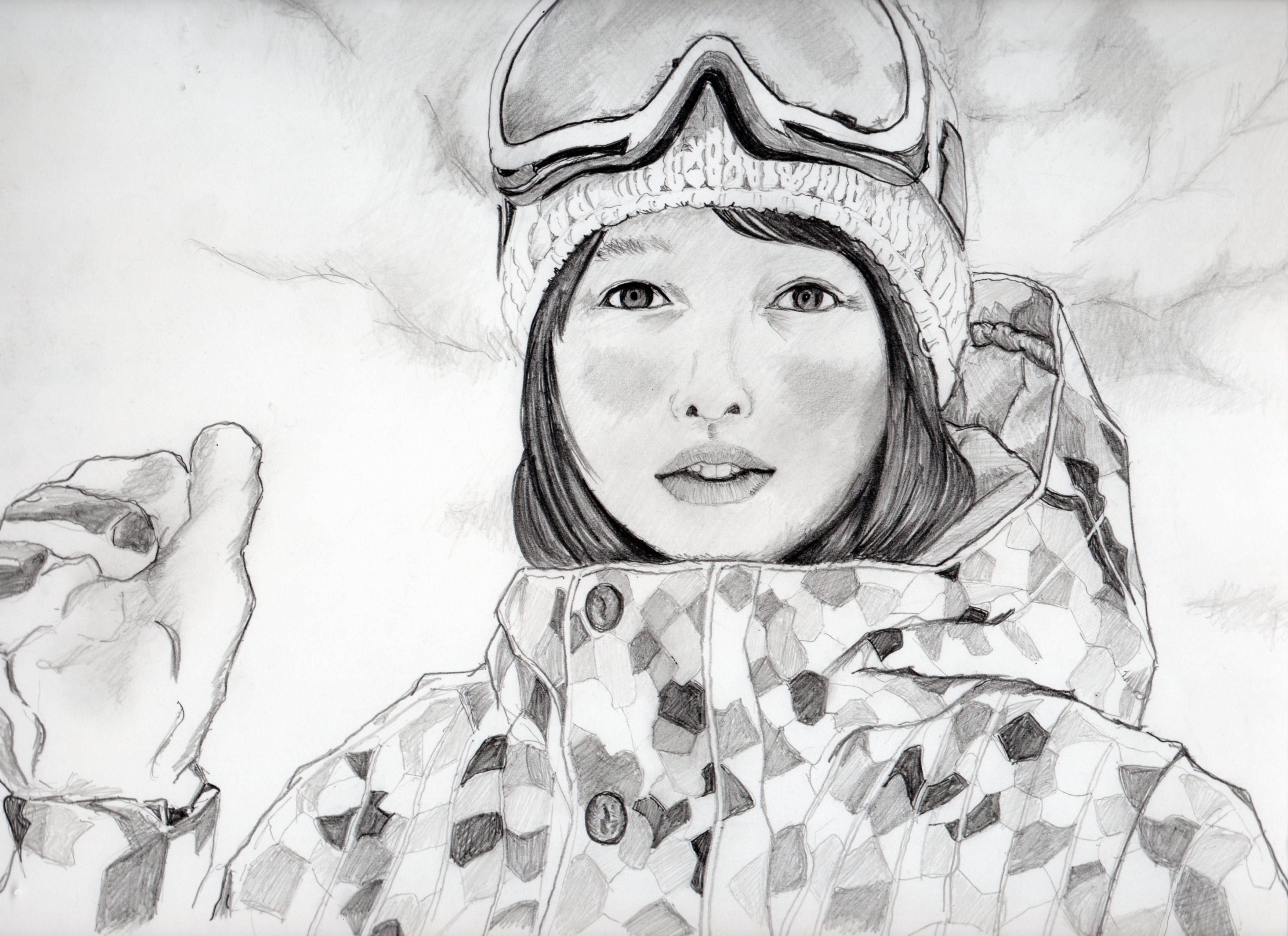 桜井日奈子の鉛筆画似顔絵、桜井日奈子のリアル鉛筆画似顔絵