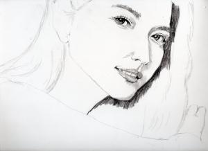 長澤まさみの鉛筆画似顔絵途中