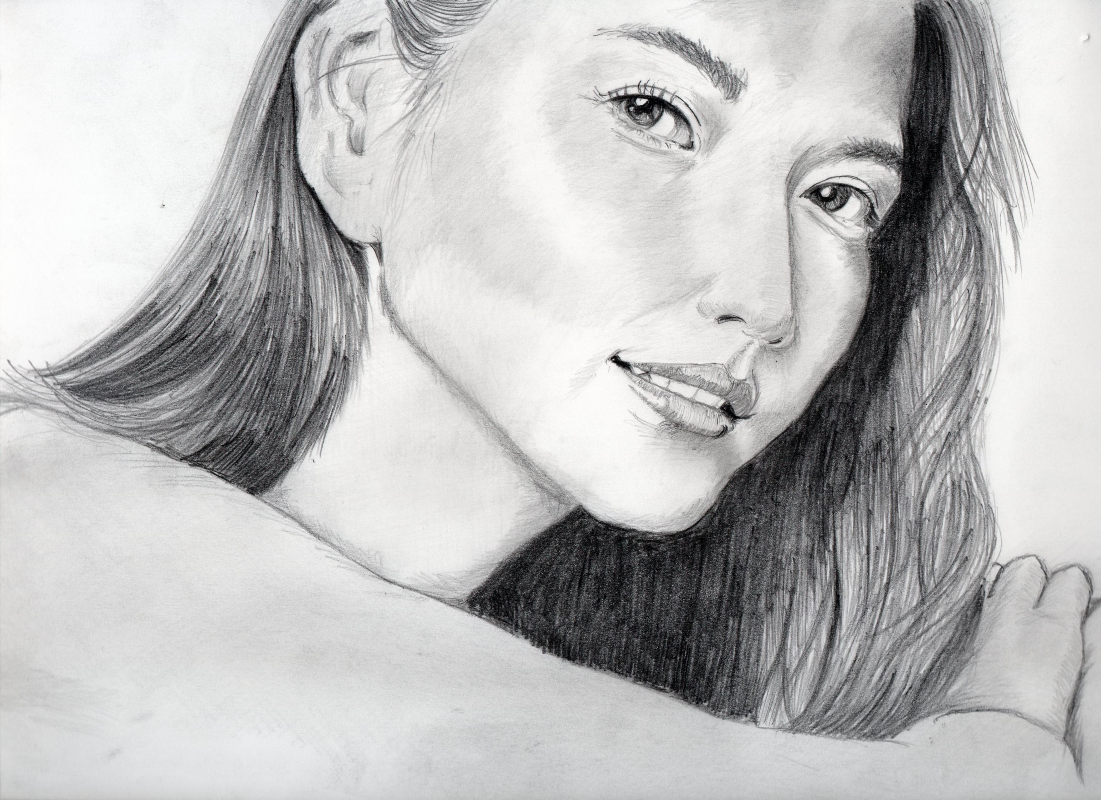 長澤まさみの鉛筆画似顔絵、長澤まさみのリアル鉛筆画似顔絵