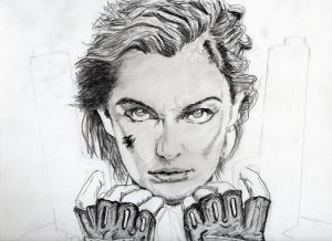 ミラ・ジョヴォヴィッチの鉛筆画似顔絵途中