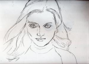 バイオハザード、ローラの鉛筆画似顔絵途中