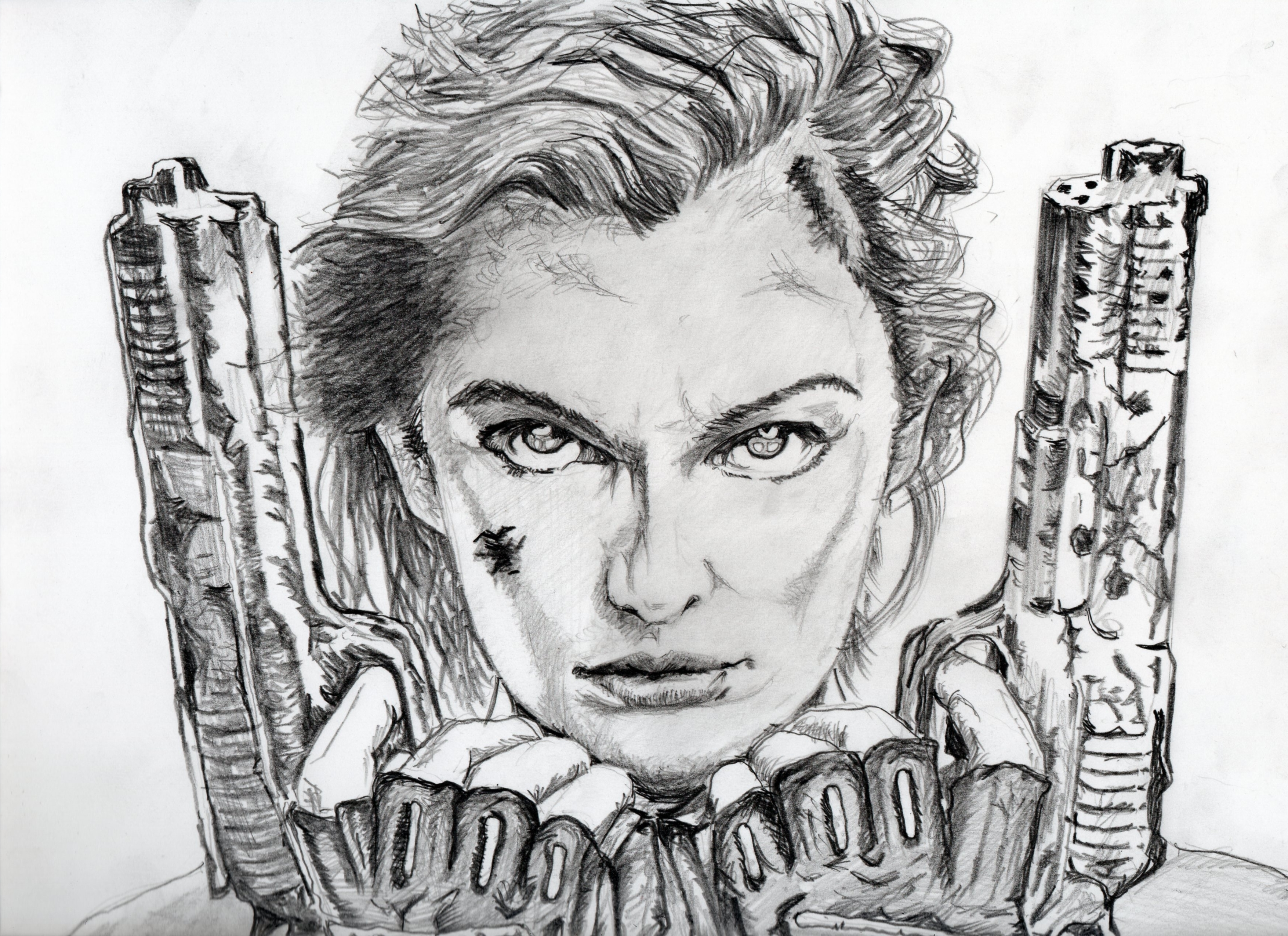 ミラ・ジョヴォヴィッチの鉛筆画似顔絵、ミラ・ジョヴォヴィッチのリアル鉛筆画似顔絵