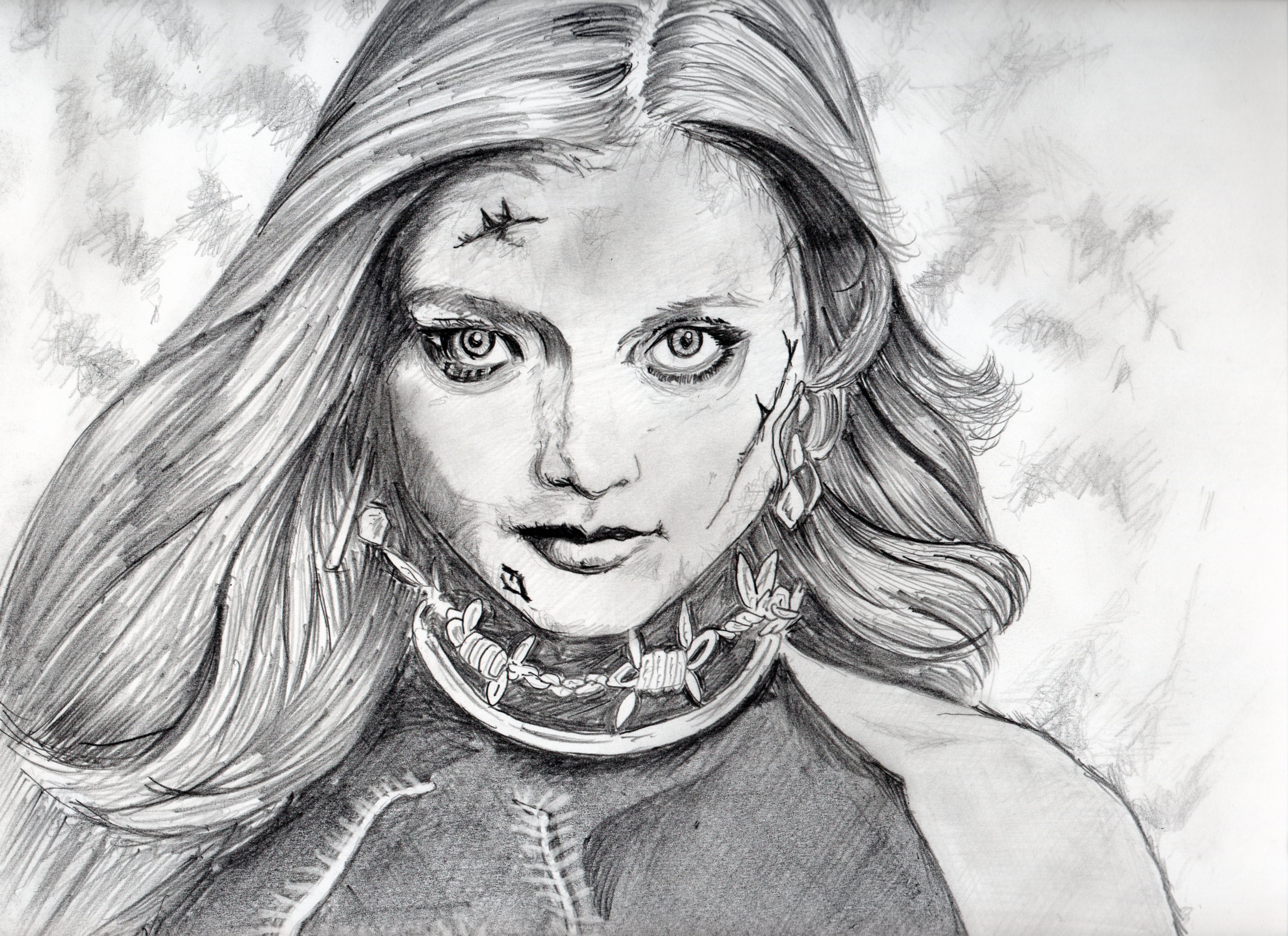 バイオハザード、ローラの鉛筆画似顔絵、バイオハザード、ローラのリアル鉛筆画似顔絵