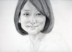 石田ゆり子の鉛筆画似顔絵途中