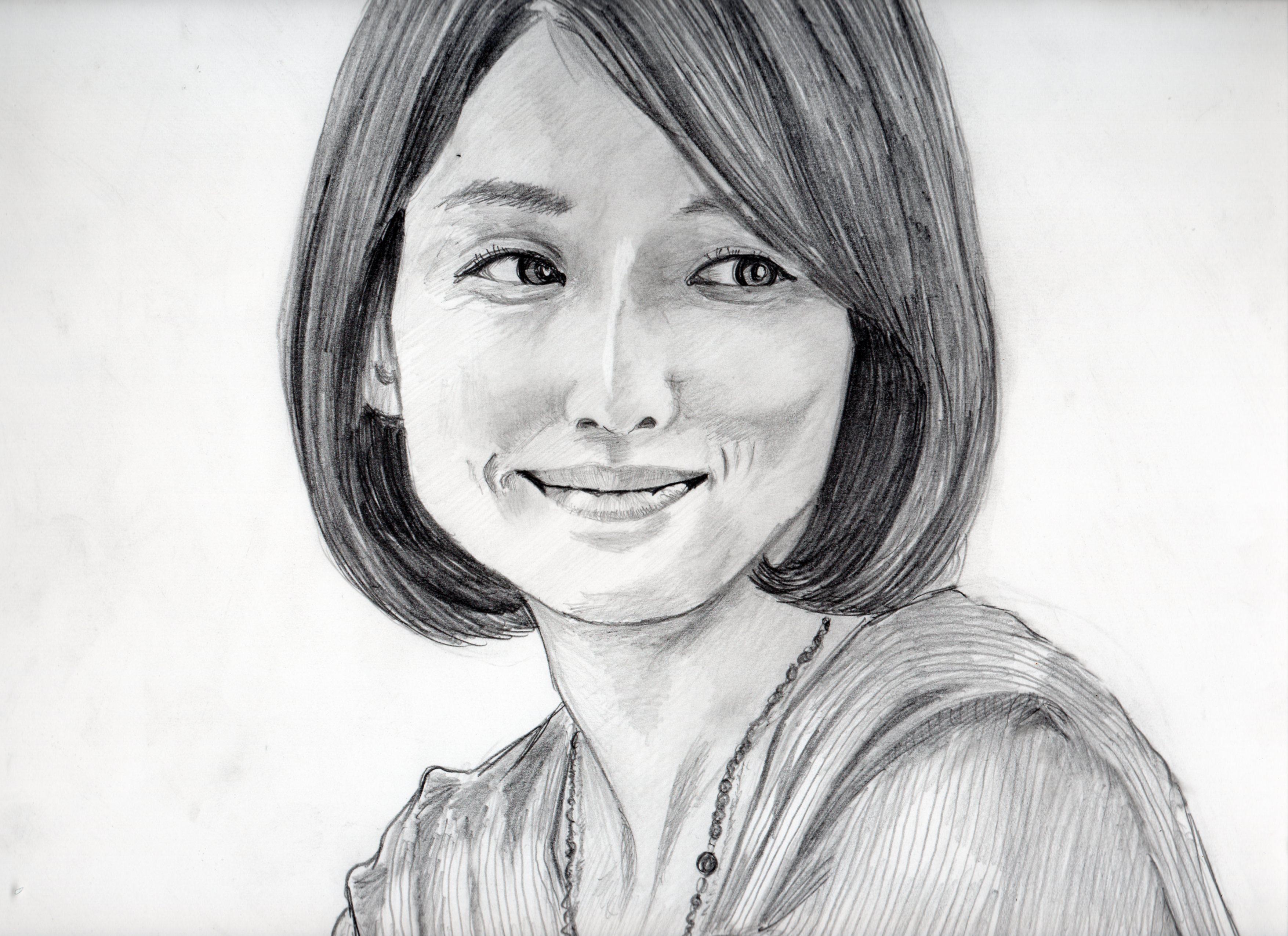 石田ゆり子の鉛筆画似顔絵、石田ゆり子のリアル鉛筆画似顔絵