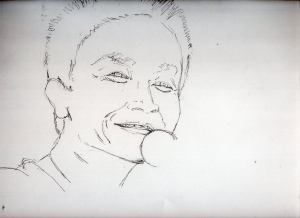 小田和正の鉛筆画似顔絵途中