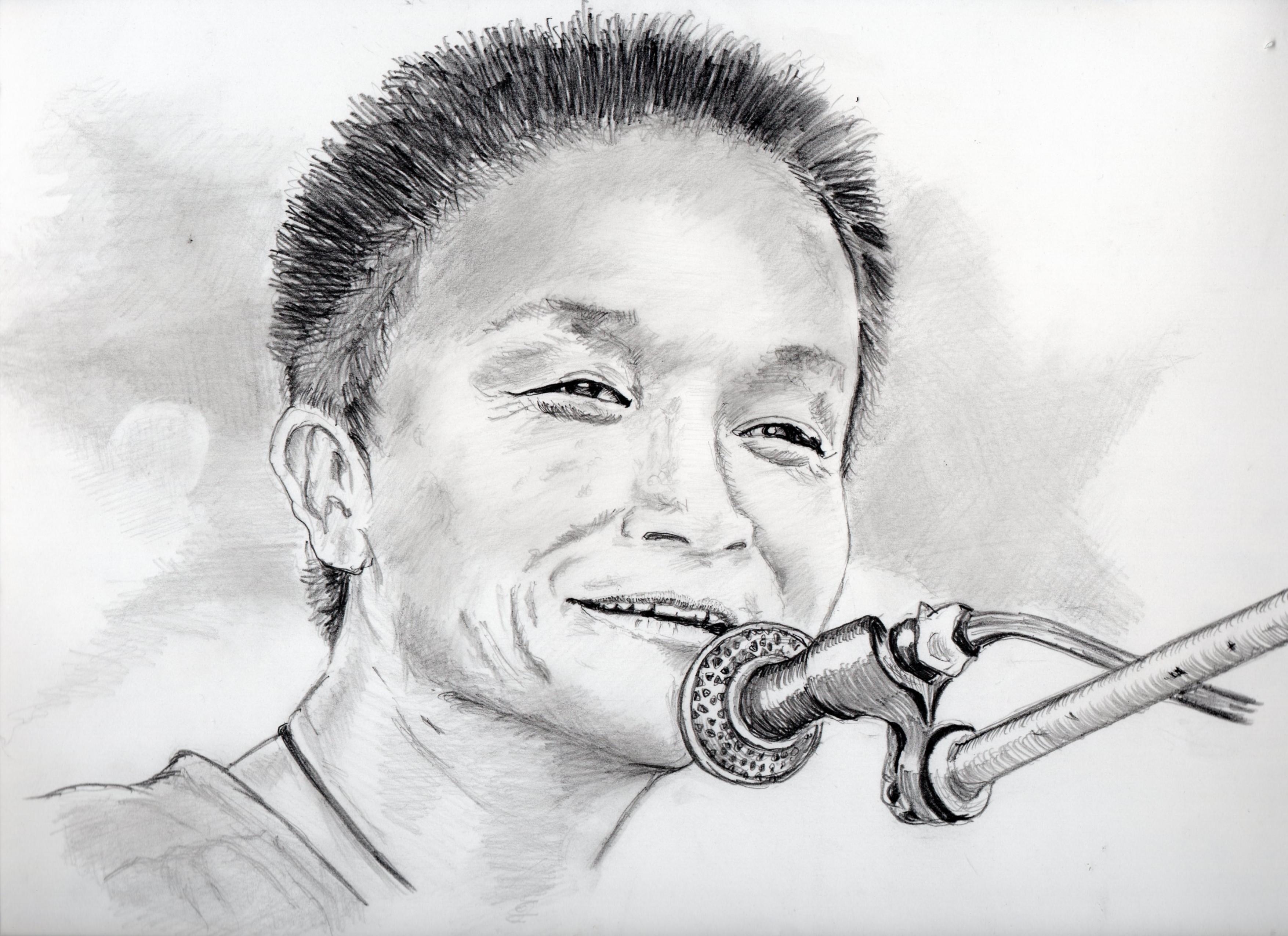 小田和正の鉛筆画似顔絵、小田和正のリアル鉛筆画似顔絵