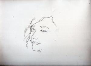 新垣結衣の鉛筆画似顔絵途中