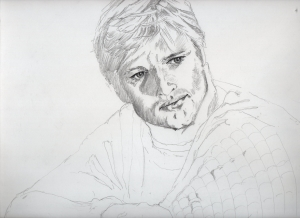ロバート・レッドフォードの鉛筆画似顔絵途中