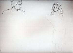 高倉健の鉛筆画似顔絵途中