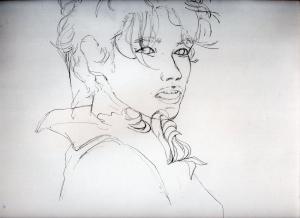 高橋大輔の鉛筆画似顔絵途中