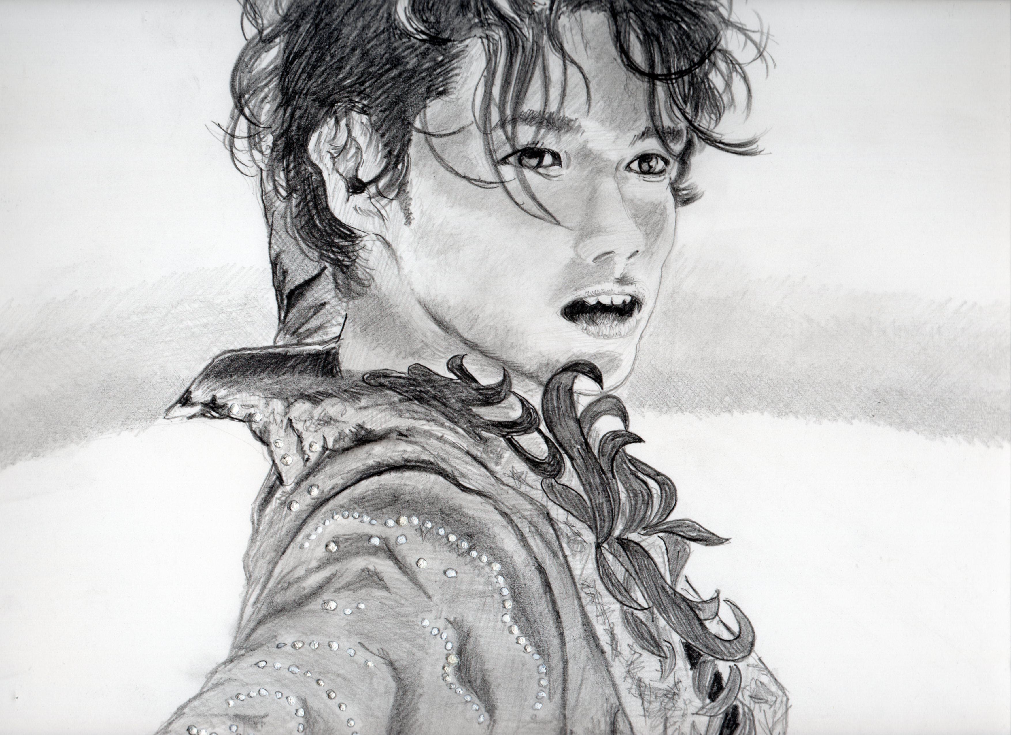 高橋大輔の鉛筆画似顔絵