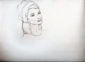 オードリー・ヘップバーンMoon River鉛筆画似顔絵途中