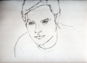 アラン・ドロンの鉛筆画似顔絵途中