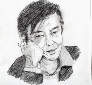 野沢那智さんの鉛筆画似顔絵