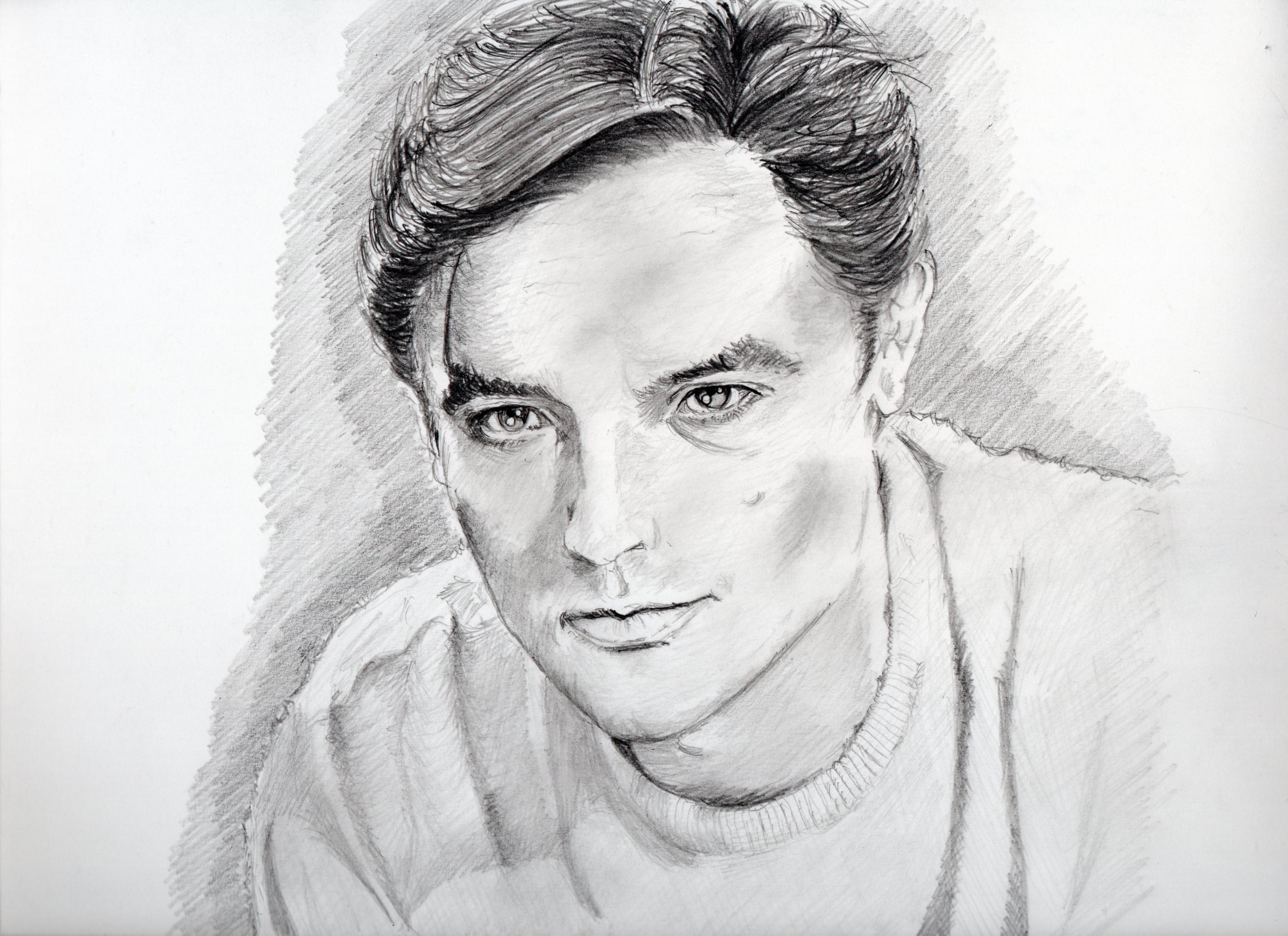 アラン・ドロンの鉛筆画似顔絵