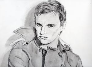エディ・レッドメインの鉛筆画似顔絵途中