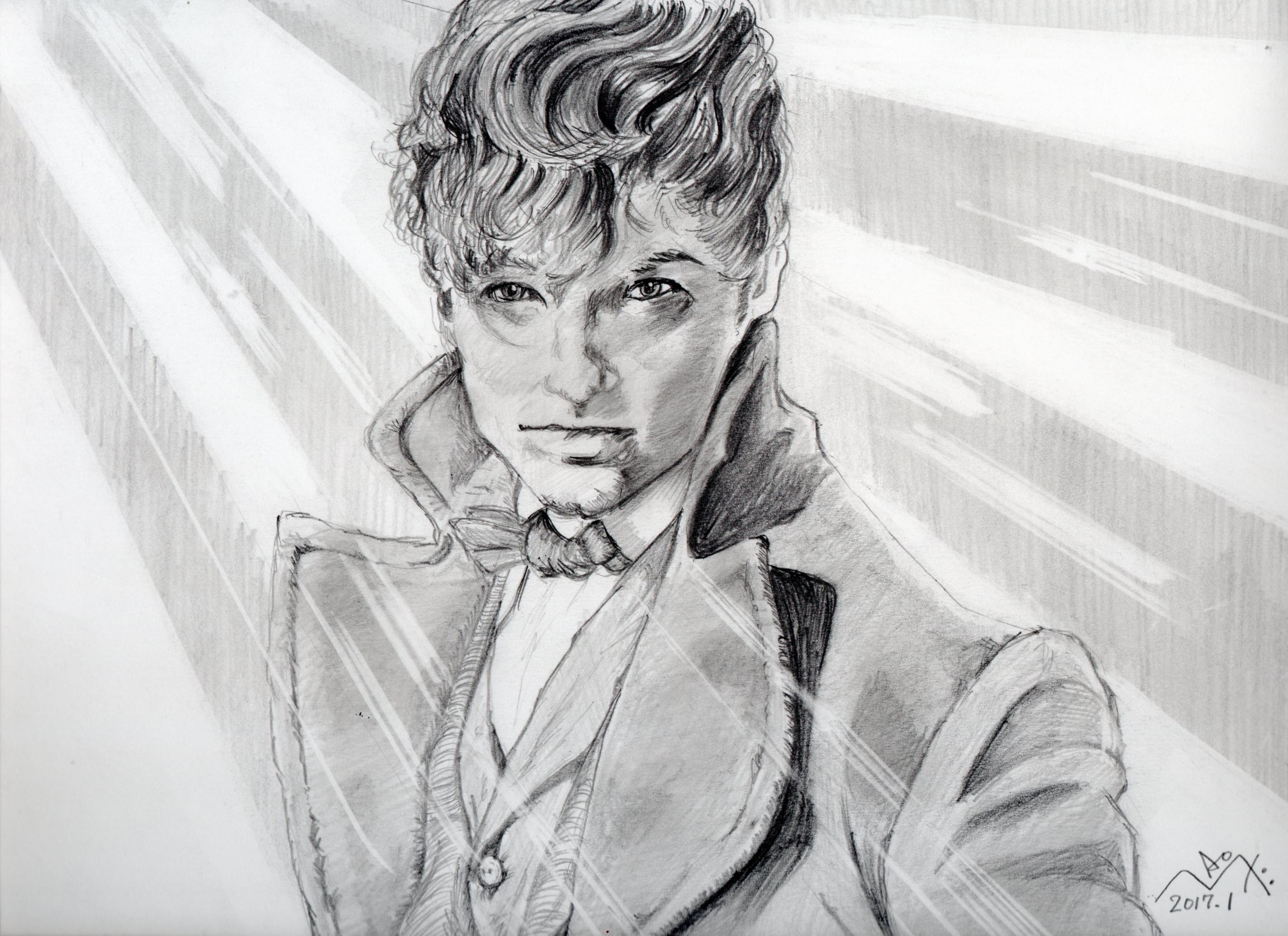 エディ・レッドメインの鉛筆画似顔絵