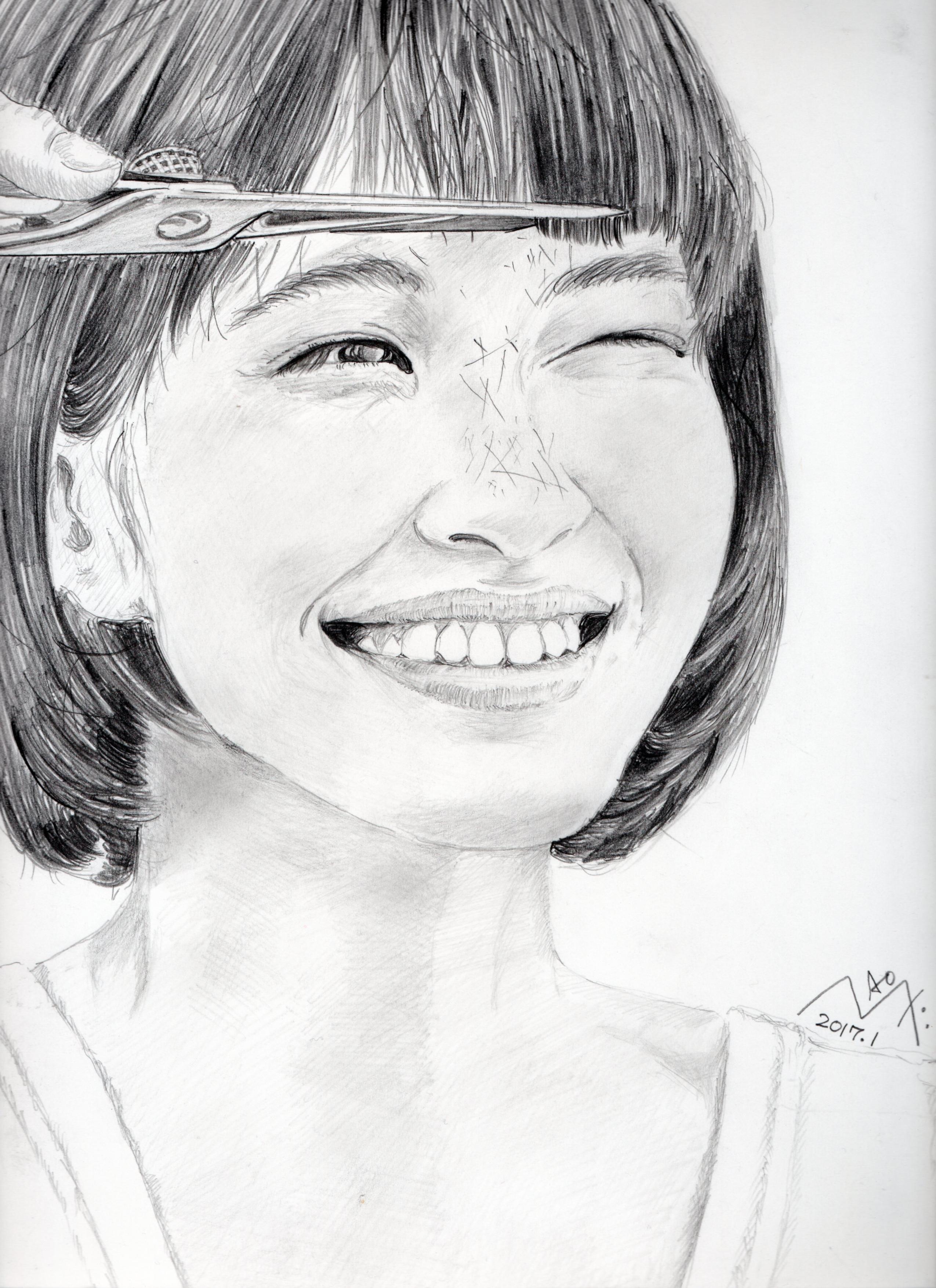 水原希子の鉛筆画似顔絵