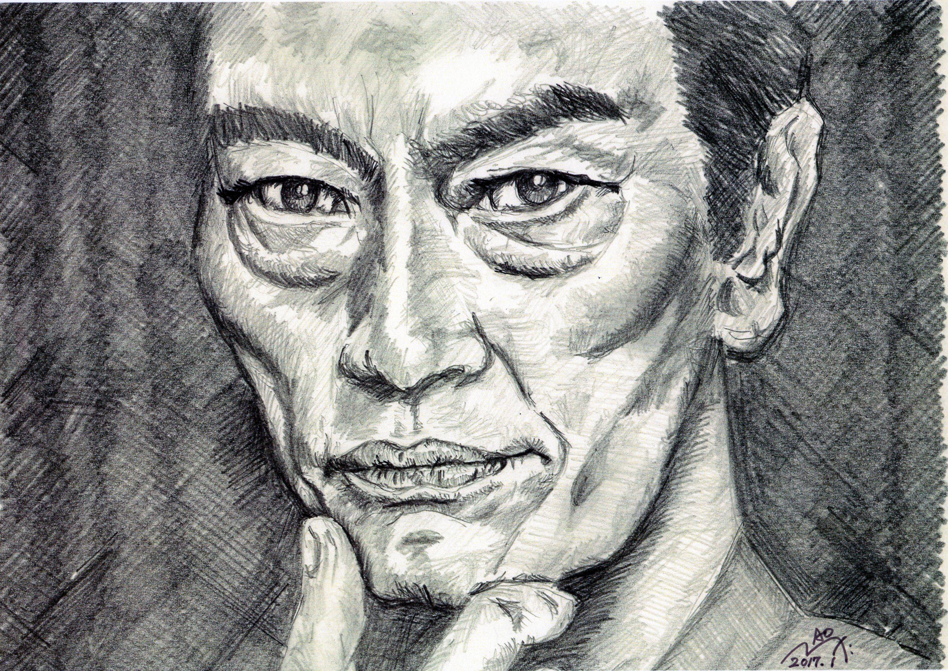 遠藤憲一の鉛筆画似顔絵