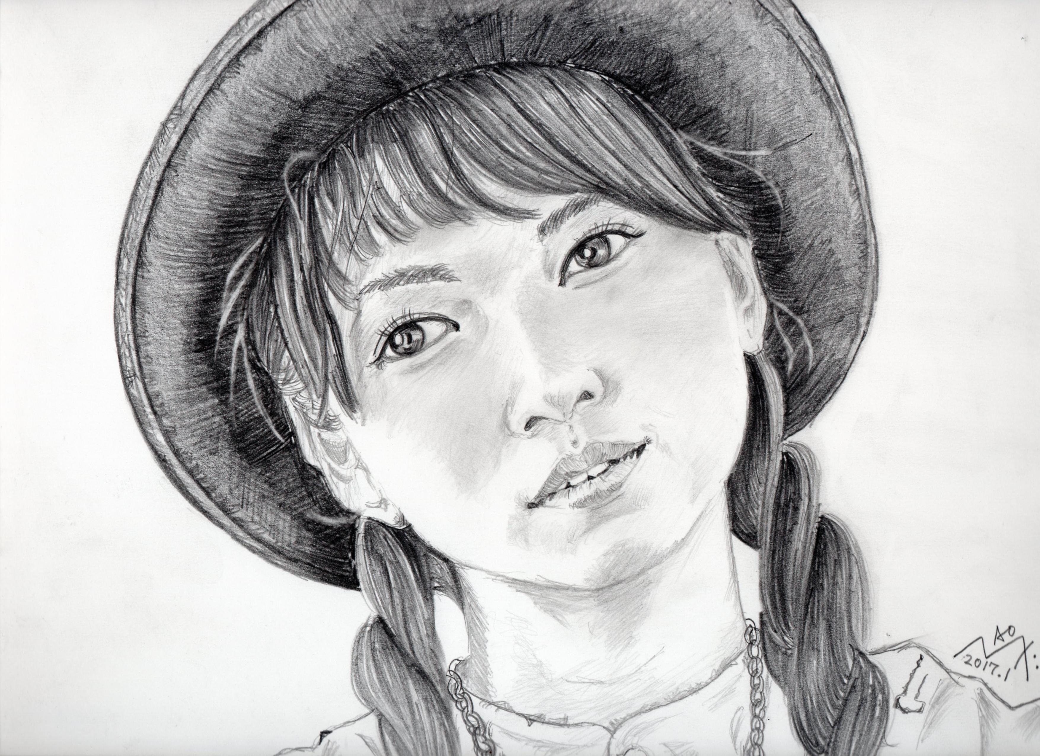 二階堂ふみの鉛筆画似顔絵