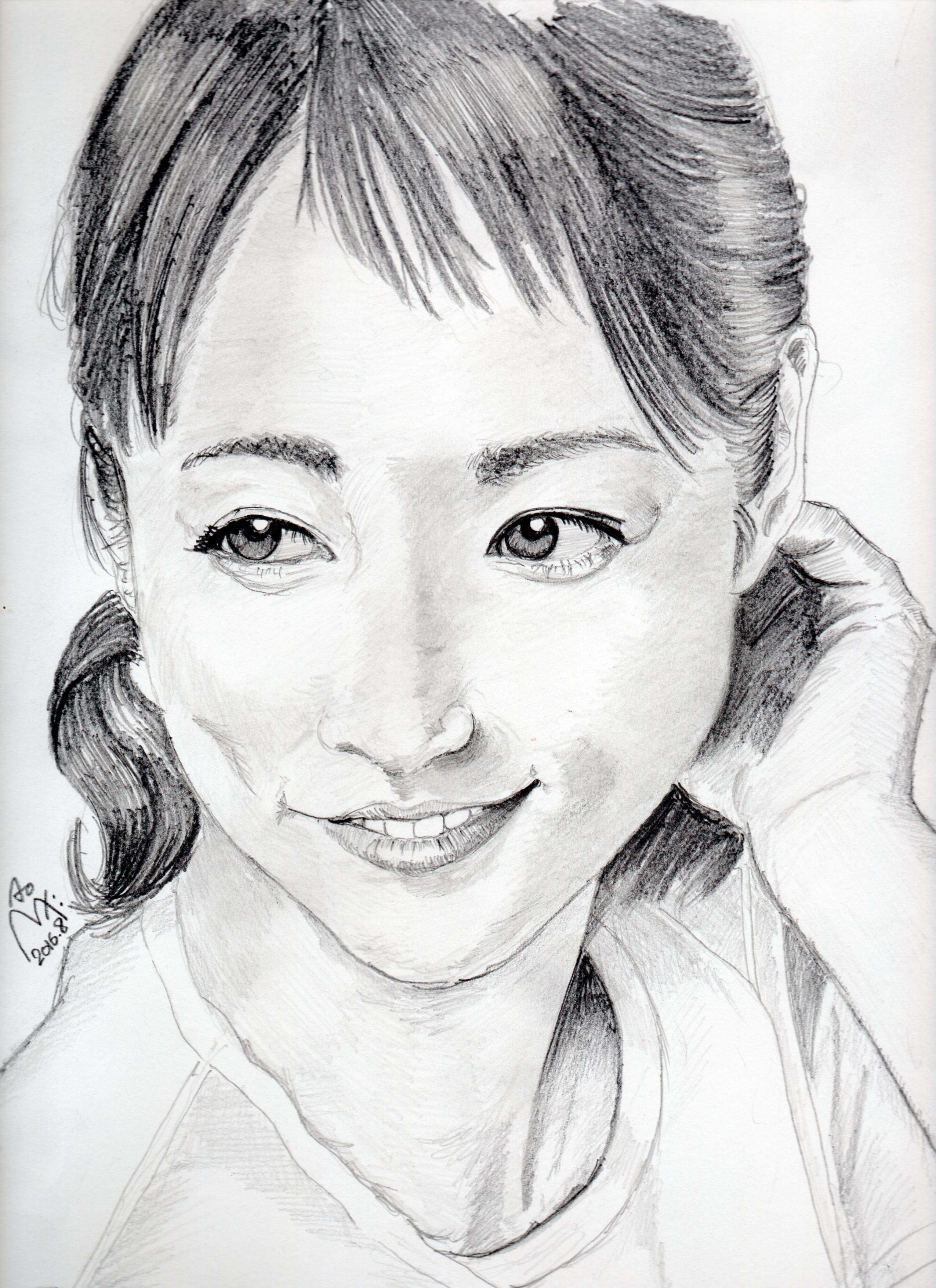 木村文乃の鉛筆画似顔絵