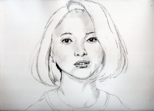 吉高由里子の鉛筆画似顔絵途中経過