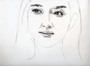 武井咲の鉛筆画似顔絵途中