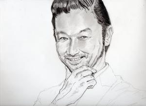 浅野忠信の鉛筆画似顔絵途中