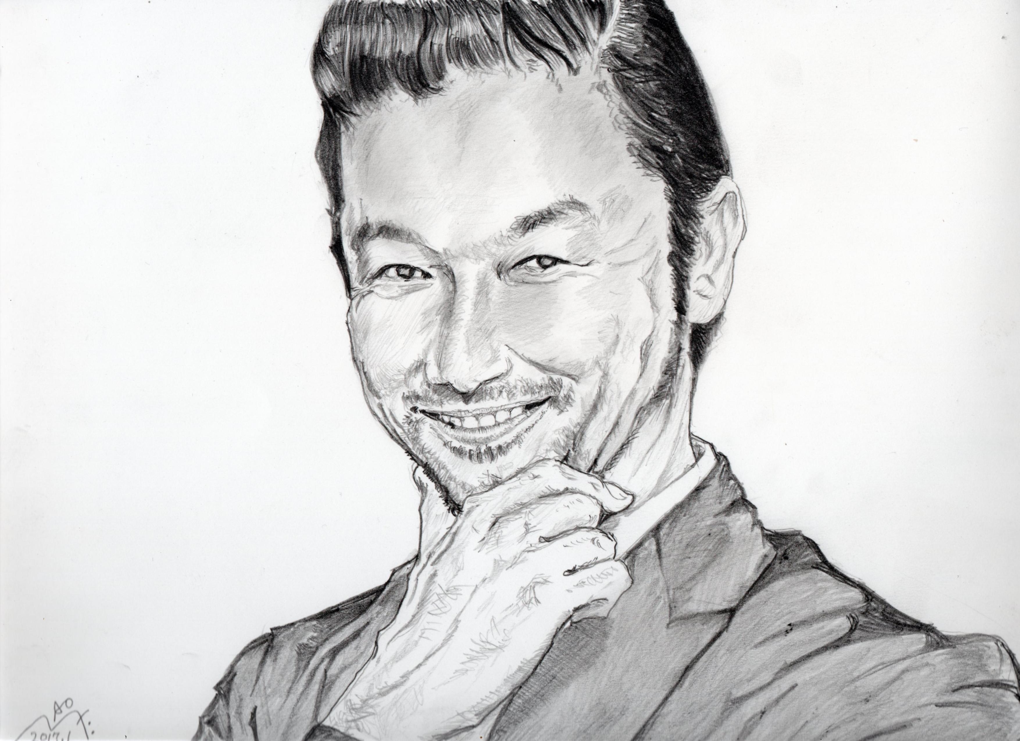 浅野忠信の鉛筆画似顔絵