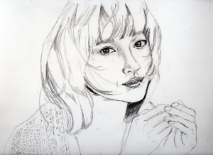 土屋太鳳の鉛筆画似顔絵途中