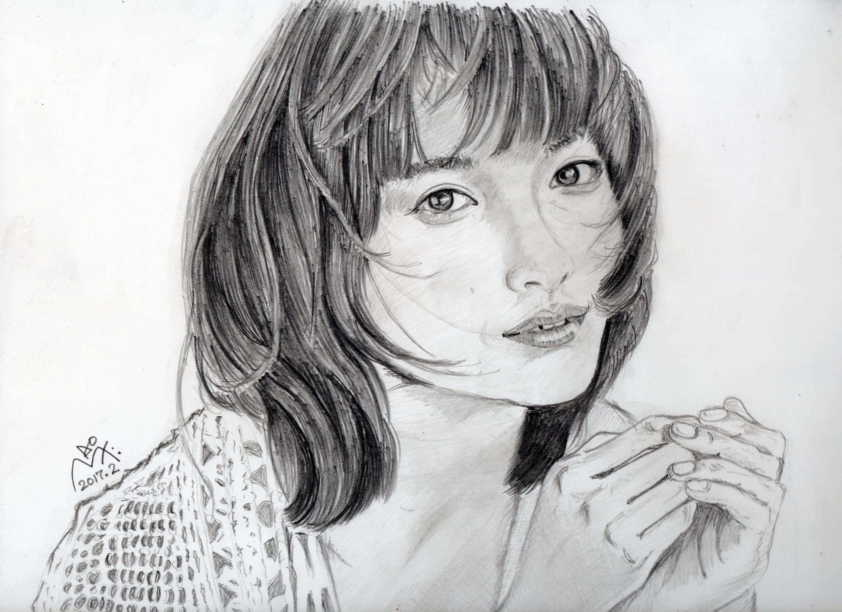 土屋太鳳の鉛筆画似顔絵