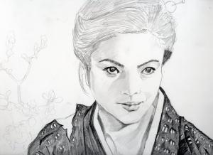 緋牡丹博徒、藤純子の鉛筆画似顔絵途中