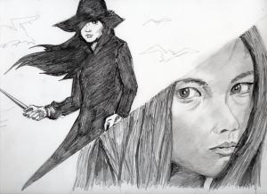 女囚さそり、梶芽衣子の鉛筆画似顔絵途中