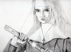 二代目はクリスチャン志穂美 悦子、の鉛筆画似顔絵途中