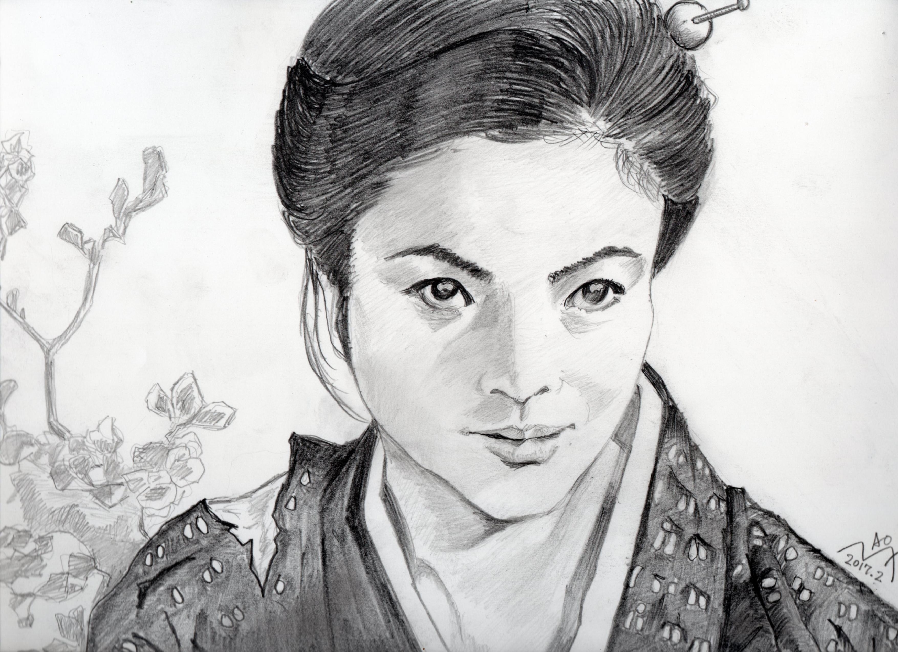 緋牡丹博徒、藤純子の鉛筆画似顔絵