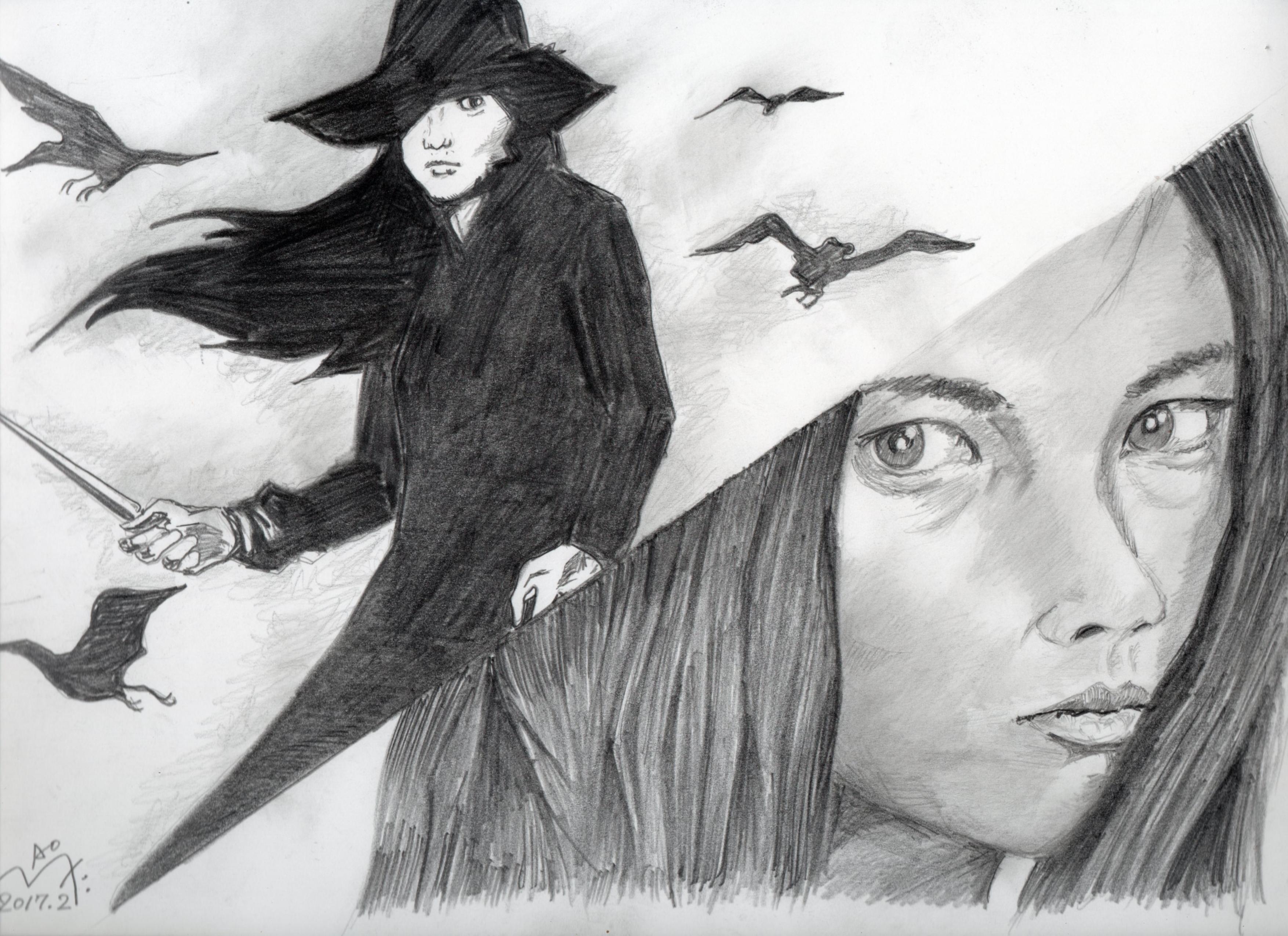 女囚さそり、梶芽衣子の鉛筆画似顔絵