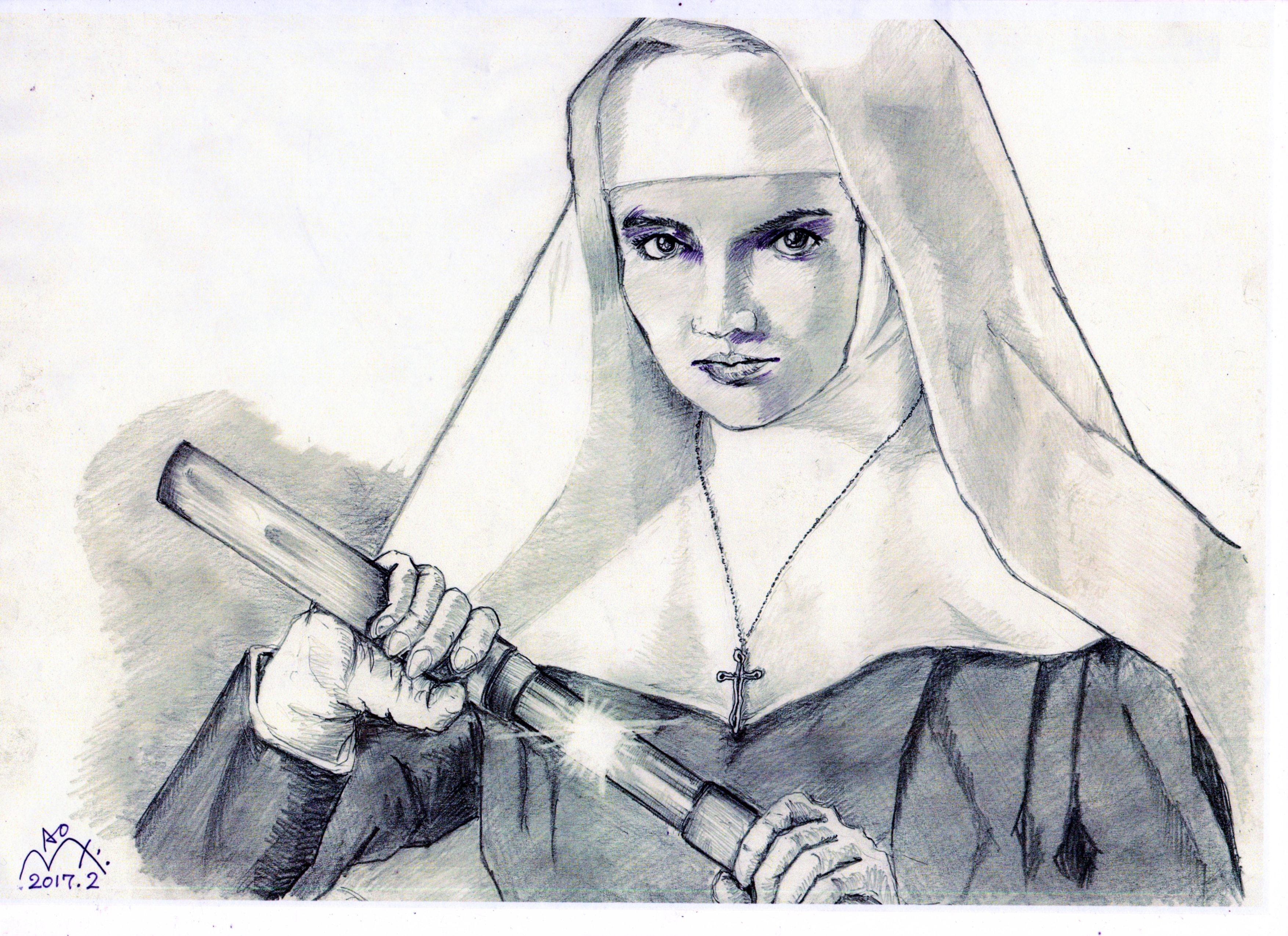 二代目はクリスチャン、志穂美 悦子の鉛筆画似顔絵
